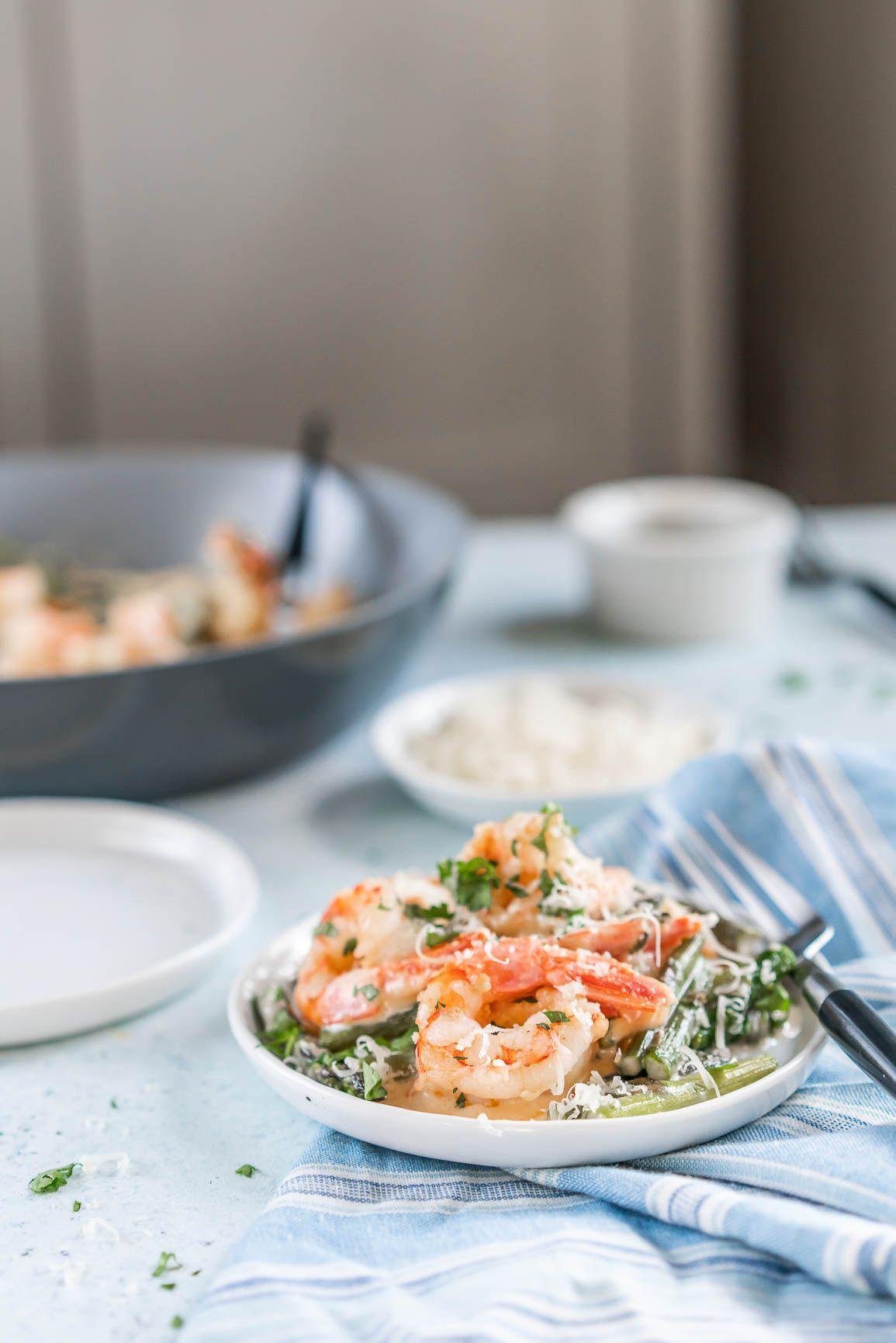 Keto Creamy Asparagus And Shrimp Alfredo Recipe