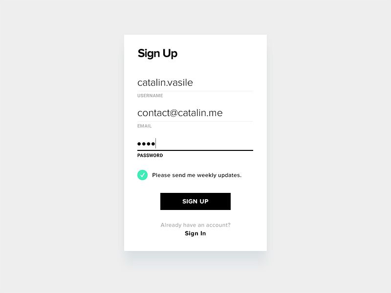 Minimalistic Sign Up Form
