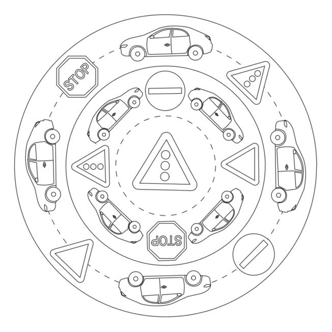 Verkehrszeichen Mandala Kind Pinte