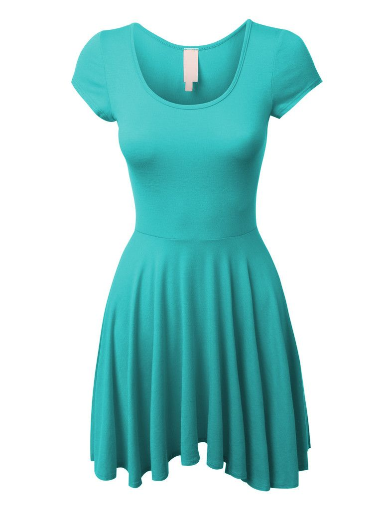 Casual short sleeve fit and flare asymmetrical skater