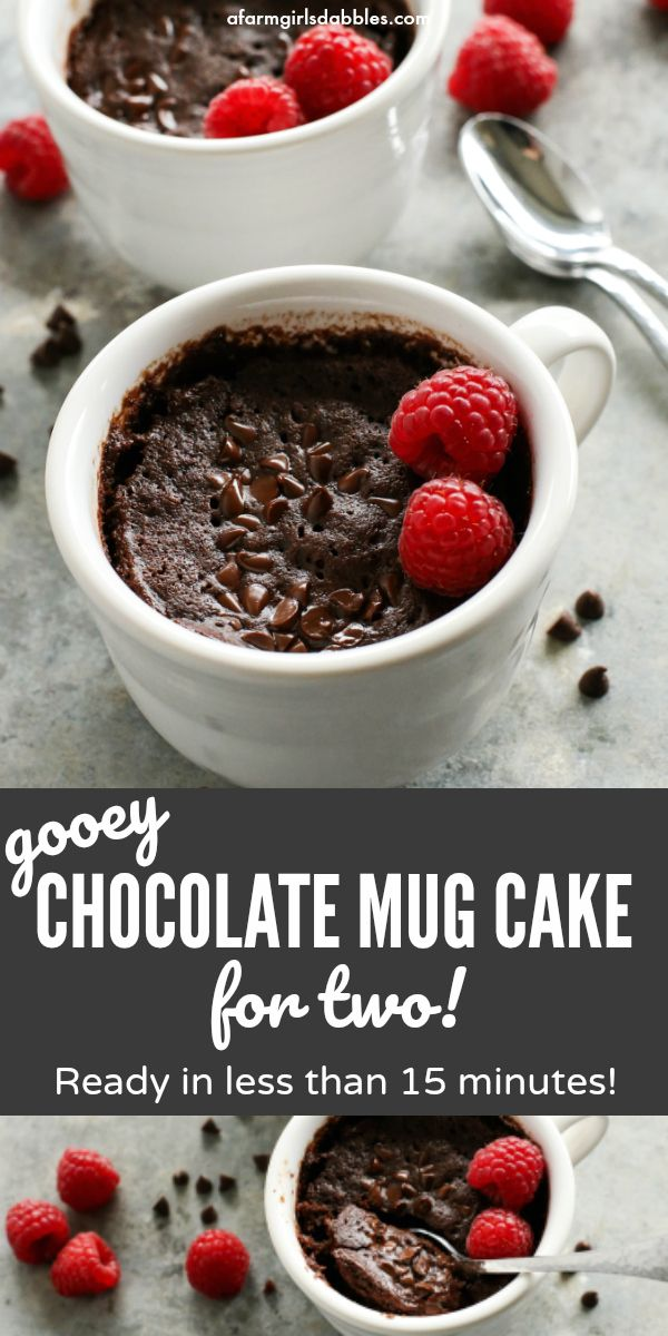 Gooey Chocolate Mug Cake for Two #mugcake
