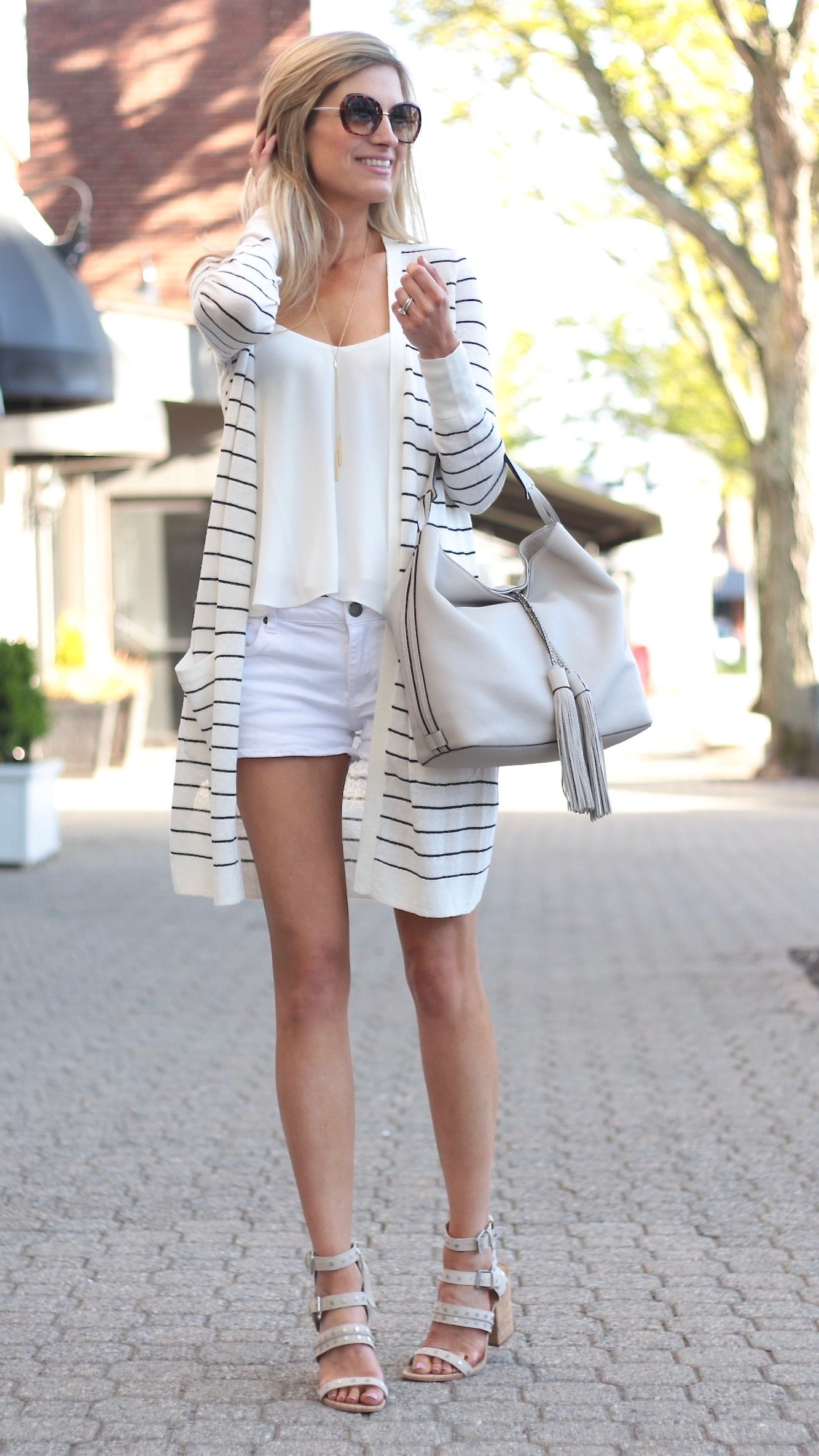 fbd0735dca9 summer outfit ideas - striped duster cardigan with wedge sandals