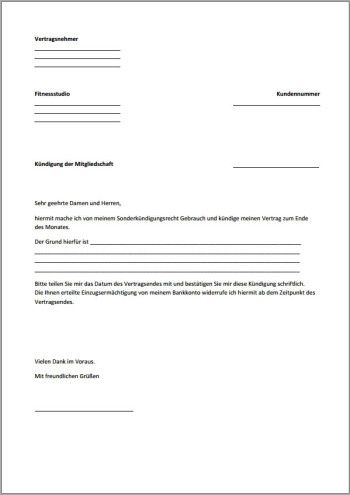 k ndigung fitnessstudio vorlage fristlos pdf xobbu k ndigung vorlage vorlagen checklisten
