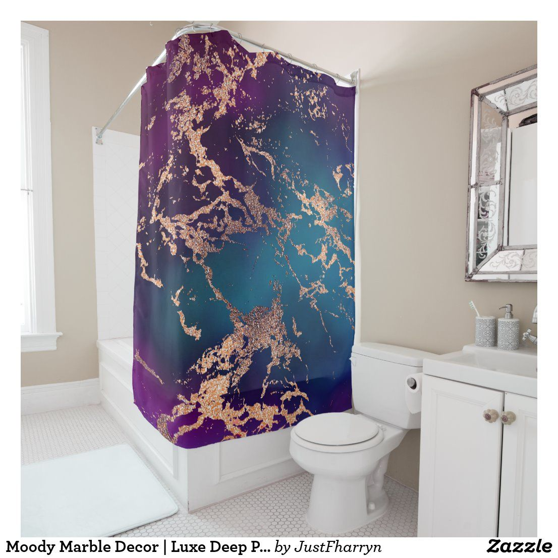 Moody Marble Deep Luxe Purple Teal Rose Gold Shower Curtain In