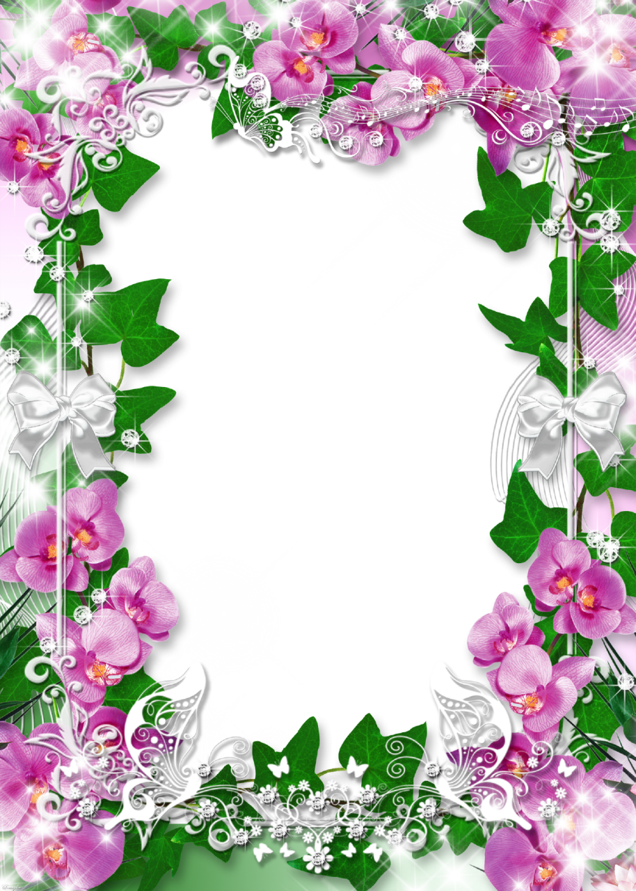 Photo-Frame-with-Flowers-Orchid-Favorite.png (914×1280)   Frames ...
