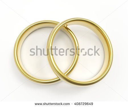 Golden rings isolated on white background Wedding rings 3D render