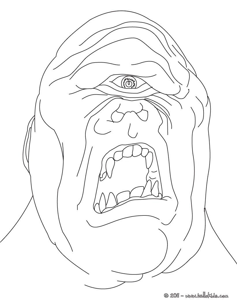 kleurplaat cyclop the terrific one eyed giant coloring page