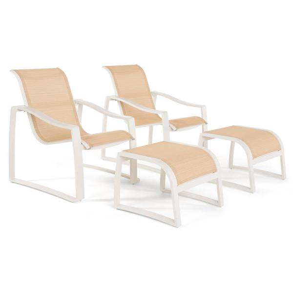 RST Brands Zen 4-Piece Stationary Sling Outdoor Lounge Chair and Ottoman Set in Cream OP-ALCLBOTTO2-SLNG-ZEN-CRM - The Home Depot