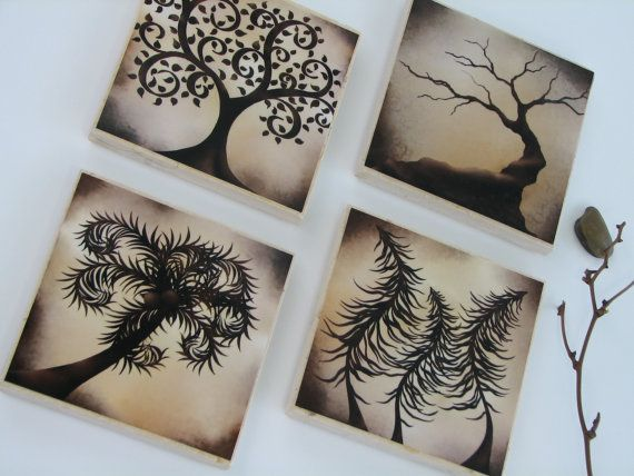 Drink Coasters Brown Table Decor CeramicTile by NaturesHeavenlyArt, $17.00