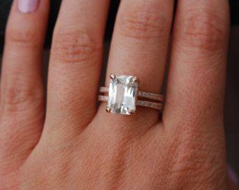 Engagement Ring emerald cut 14k rose gold diamond ring Champagne