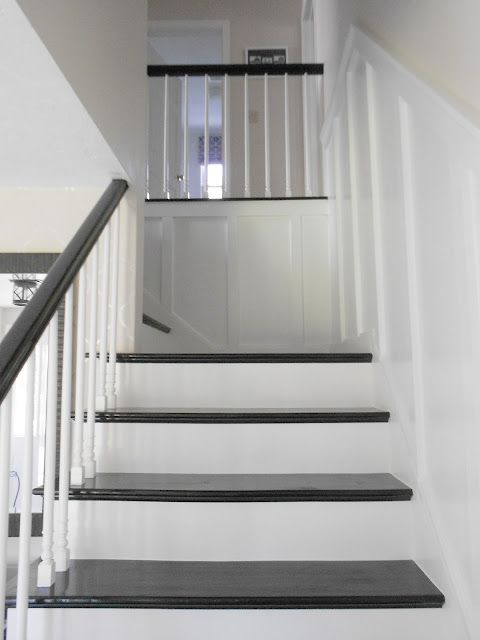 Board And Batten Stairway Love The Black Stair Treads