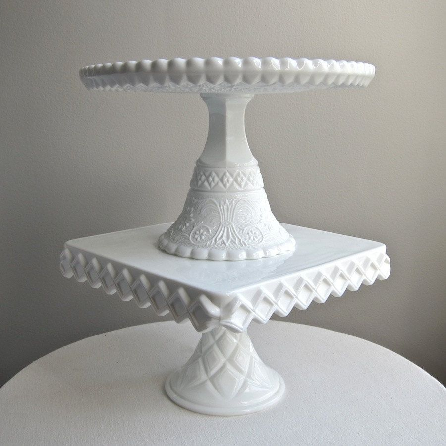 Milk Glass Wedding Cake Stand By Duncan Miller Sandwich Pattern Lacy