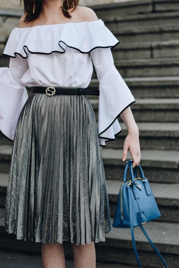 62329232e5 Zara contrast frill off shoulder top, ruffle shirt, mango pleated silver  metallic midi skirt, gucci ace sneakers, gucci belt, prada blue mini bag,  ...
