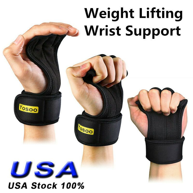 Fitness Gloves Weight Lifting Gym Workout Sports Training Wrist Wrap Strap Black