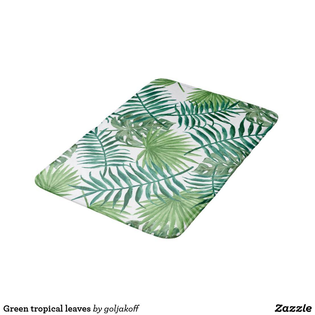 Green Tropical Leaves Bath Mat Zazzle Com Bathroom Mats Bathroom Decor Accessories Palm Tree Bathroom