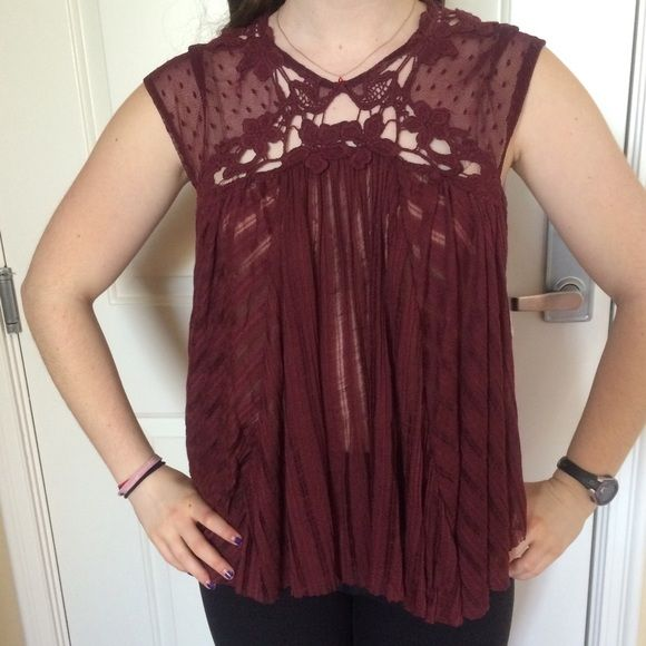 NWT FREE PEOPLE maroon top!! Such an awesome top! Perfect for a night out or a concert (or just everyday life😊)!! Very soft! 🅿️🅿️✔️ ***comes with FP bag*** Free People Tops