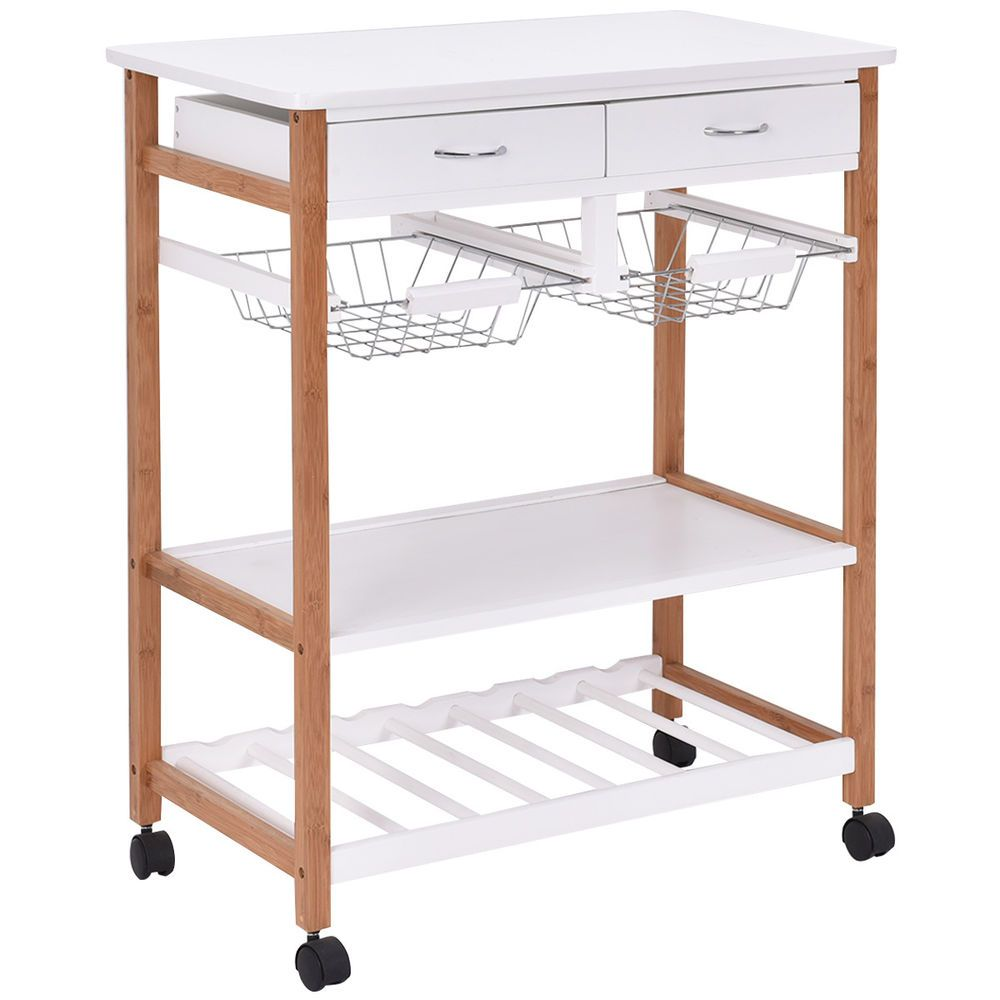 Rolling Wood Kitchen Trolley Cart Island Storage Basket Wine Rack W Drawers Unbranded Kitchen Storage Trolley Kitchen Trolley Kitchen Trolley Cart