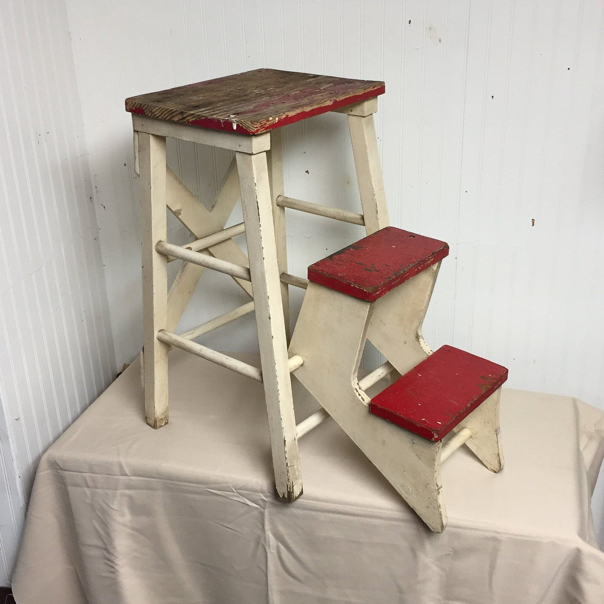 Fine Unique Shabby Red And White Wooden Step Stool With Folding Short Links Chair Design For Home Short Linksinfo