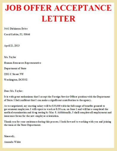 job offer acceptance letter letter Pinterest Job offer - employment offer letter