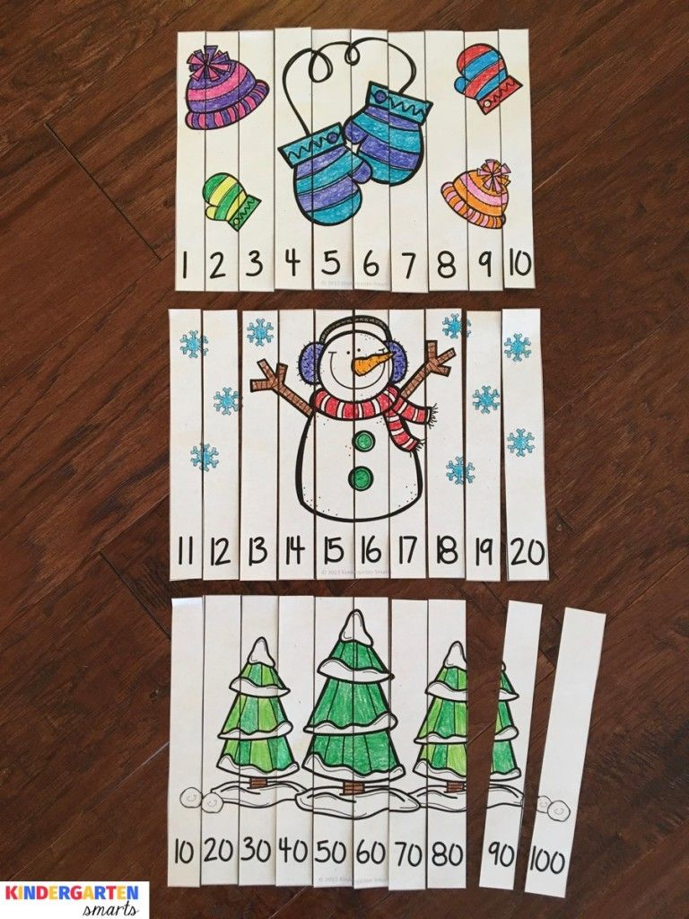 Winter Fun Counting Number Puzzles | Kinder Math | Pinterest | Mathe ...