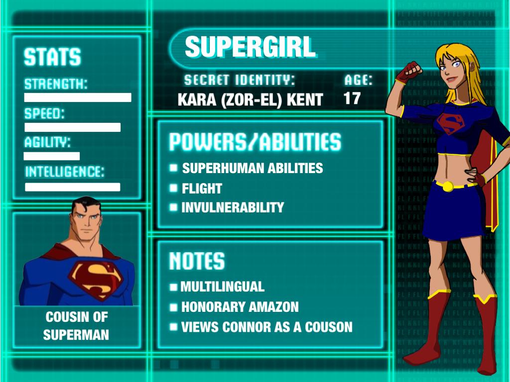 Supergirl Young Justice Stat Card Season 3 byYoung Justice Season 3 Character Bios