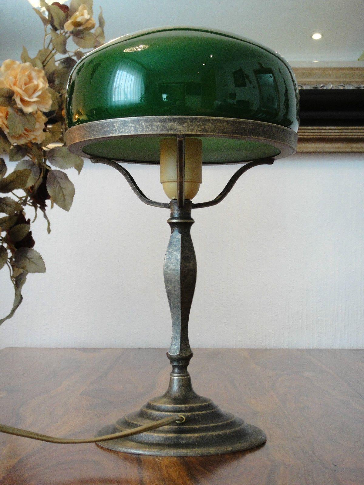 Details Zu Tischlampe Pilz Lampe Jugendstil Antik Bankerlampe Schreibtischlampe Messing NEU
