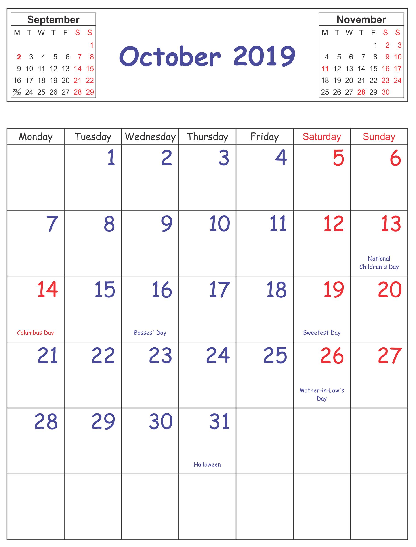 Print October 2019 Holidays Calendar Print Calendar Catholic Liturgical Calendar Calendar 2019 Template