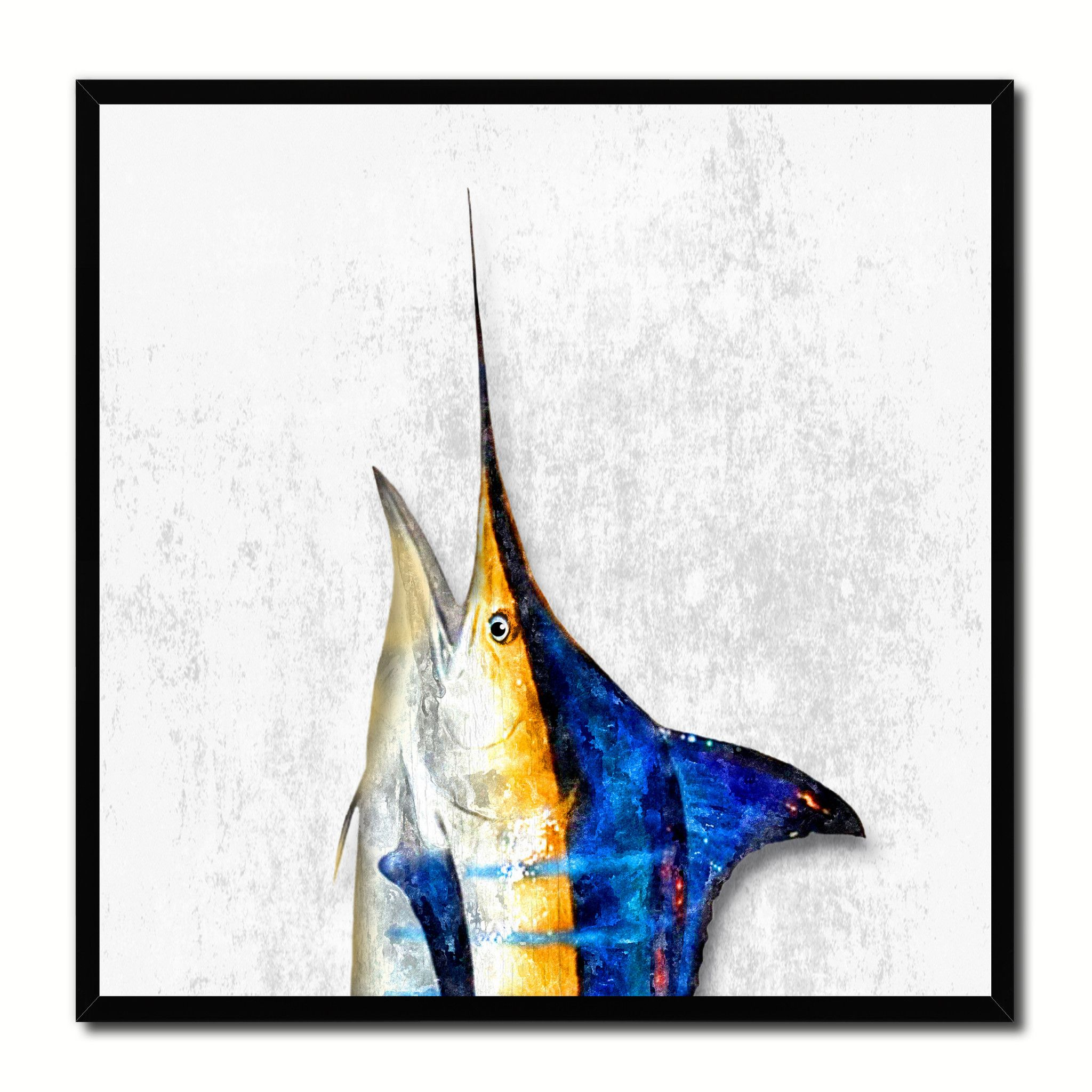 Blue Marlin Fish Head Art White Canvas Print Picture Frame Wall Home ...
