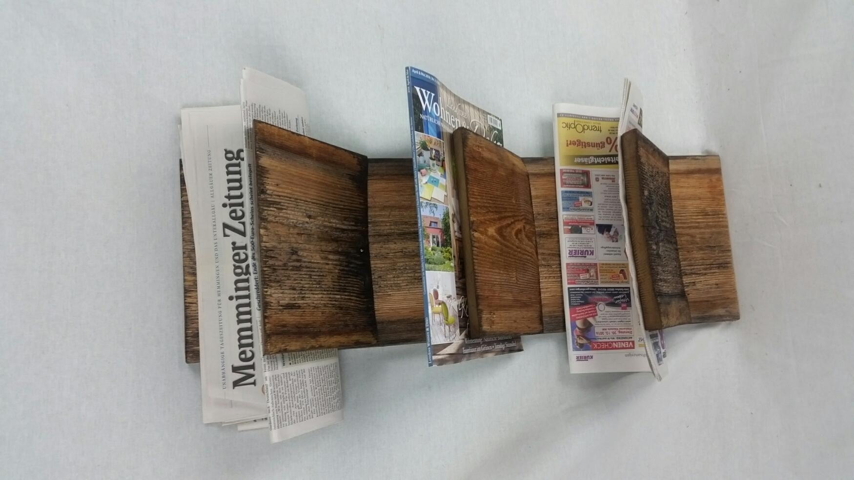 Zeitungshalter aus #Altholz f?r die Wand. Mal etwas anderes ...