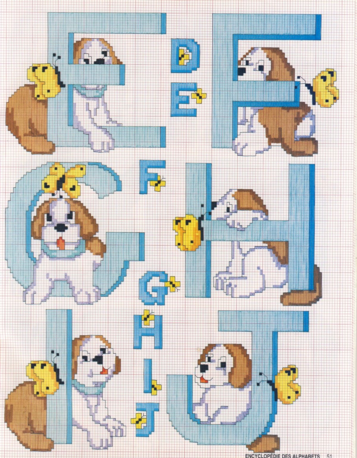 Schema punto croce alfabeto cane 2 punto de cruz cross for Ricamo punto croce lettere