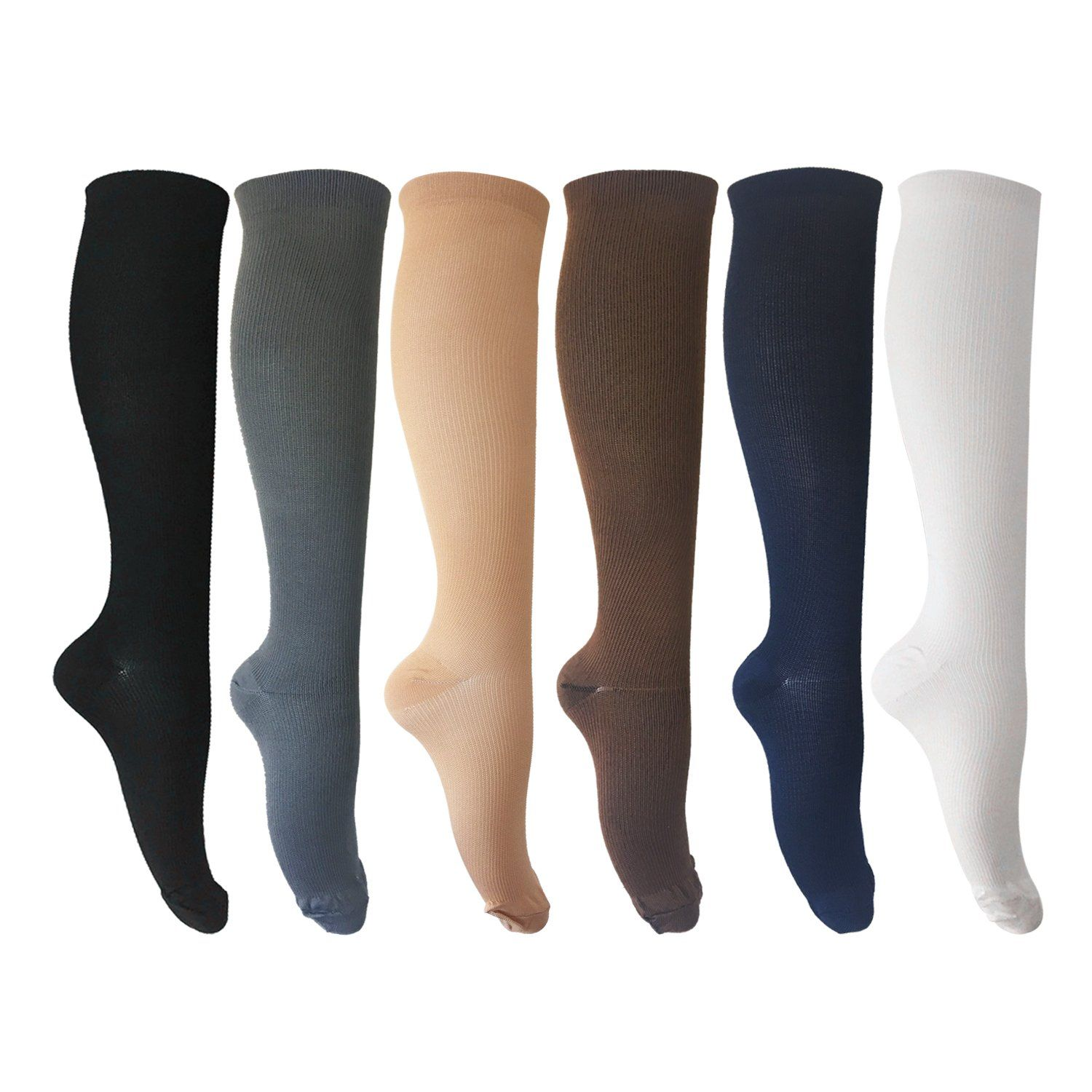 875aa858bc 6 Pairs of Compression Socks for Men and Women for Running, Nurses, Shin  Splints
