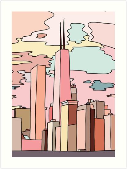 'Chicago sunset by Sasa Elebea' Art Print by Sabrina Brugmann