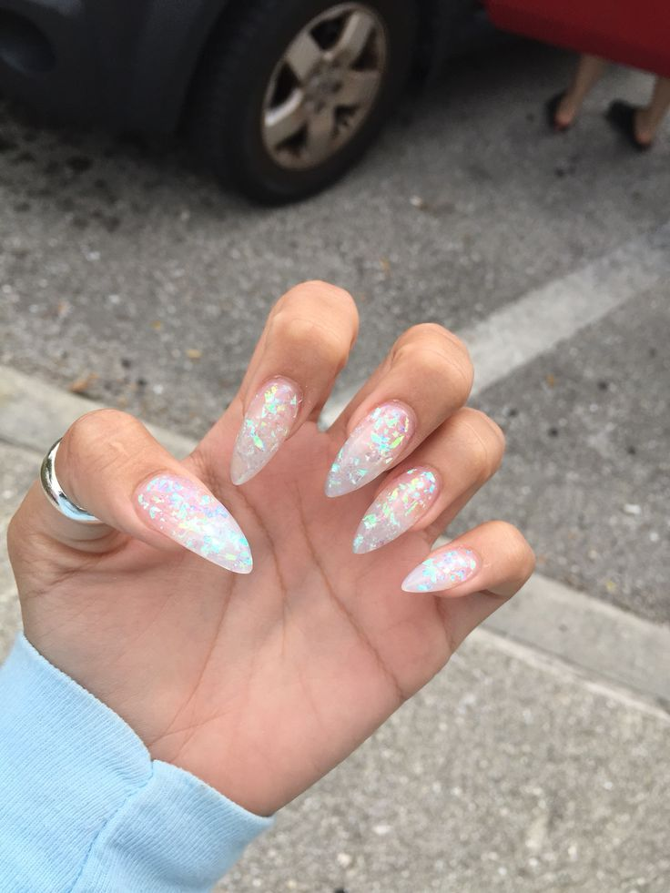 Clear mylar stiletto - maybe a little shorter | nails | Pinterest ...