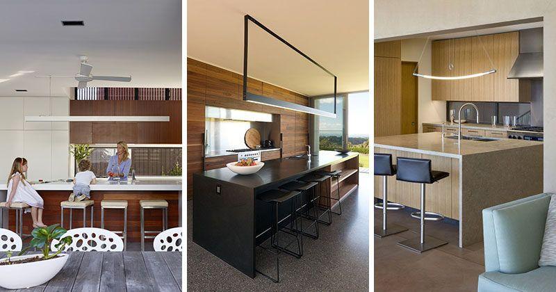 Elegant Kitchen Island Lighting Idea   Use One Long Light Instead Of Multiple