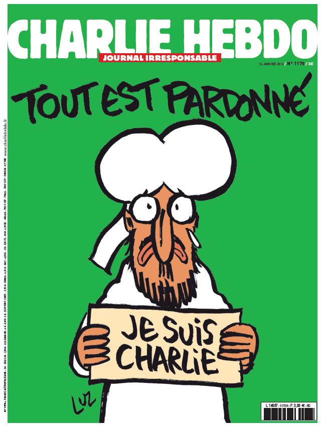 """Von Libération: """"Mahomet en une du «Charlie Hebdo» de mercredi"""" (""""Muhammad in the Charlie Hebdo from Wednesday""""). Zeile oben: """"Tour est pardonné"""" (""""All is forgiven"""")."""