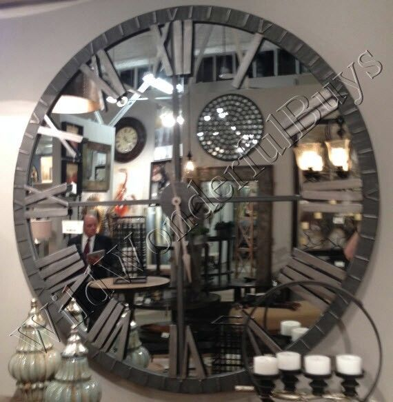 Mirrored Wall Clock 60 D Round Mirror Roman Numeral Industrial Style Extra Large Mirror Wall Clock Round Mirrors Mirror Wall