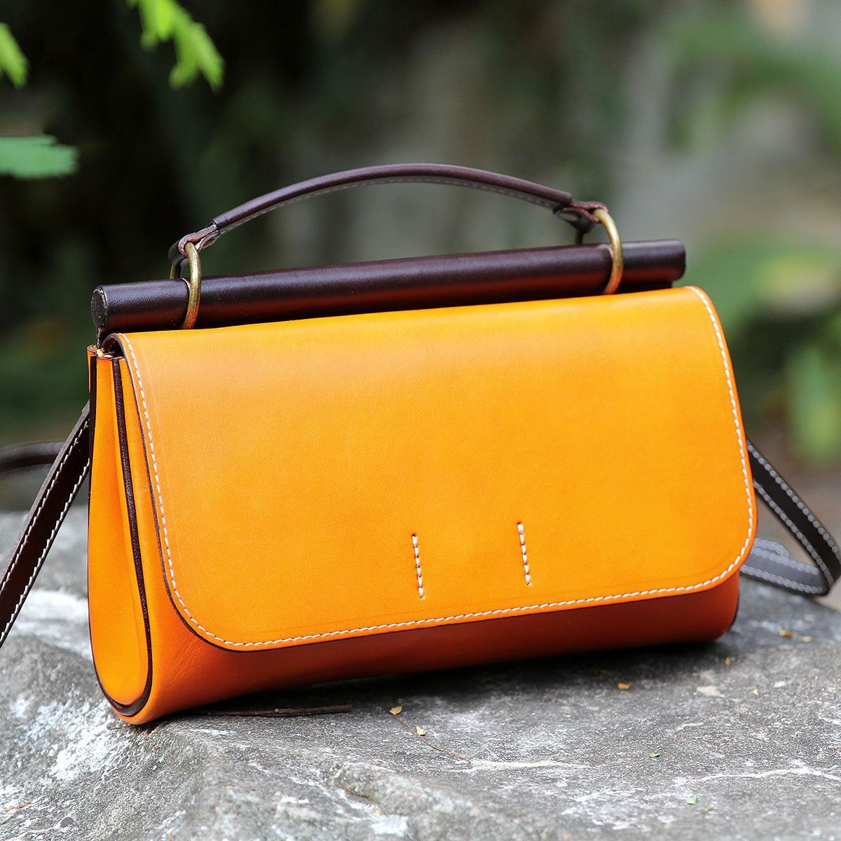 Handmade Genuine Green Leather Handbag Clutch Small Satchel Messenger For Women 14102