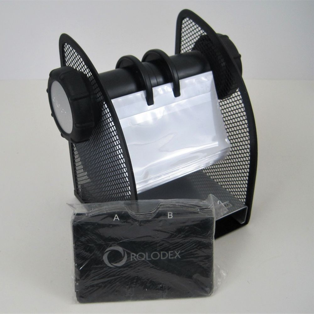 Rolodex two tone mesh rotary business card file 200 sleeved cards rolodex two tone mesh rotary business card file 200 sleeved cards black new colourmoves