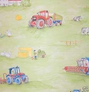Tapete Kinderzimmer Rasch Kids Club Bauernhof Traktor Acker