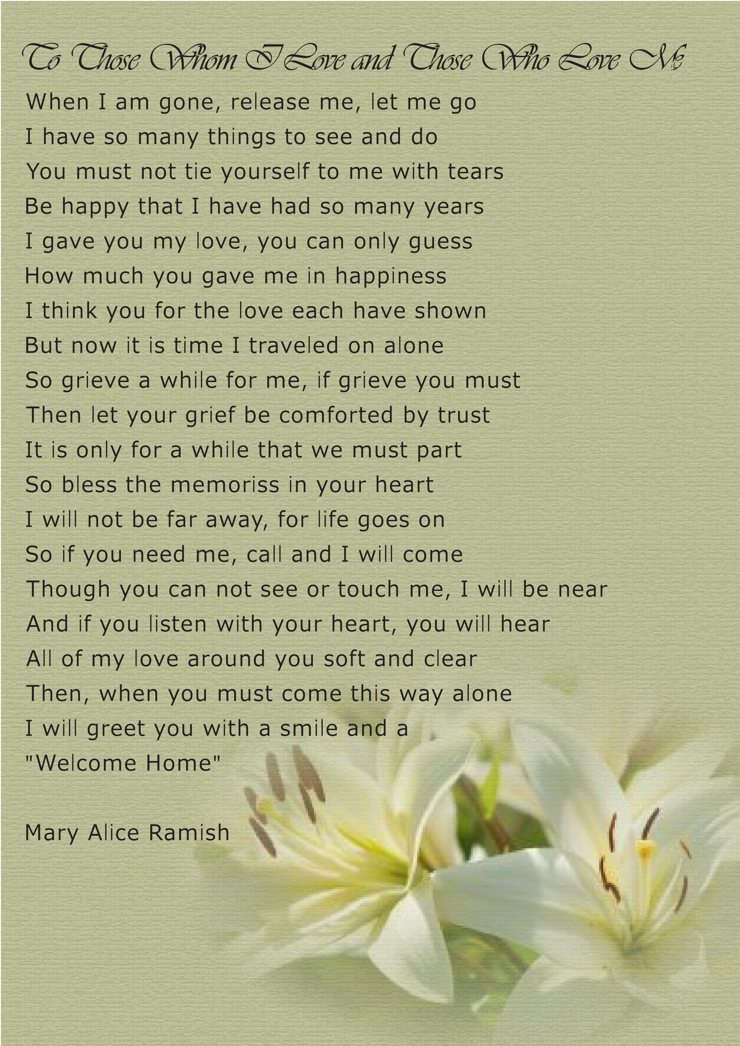 Poem To Those Whom I Love Card Created By Martins Funerals