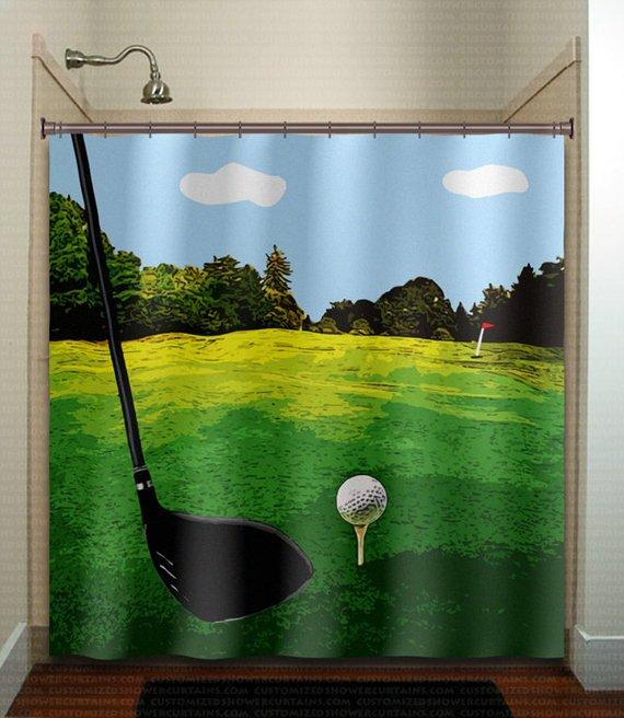 Golf Shower Curtain Extra Long Fabric Window Panel Kids Bathroom