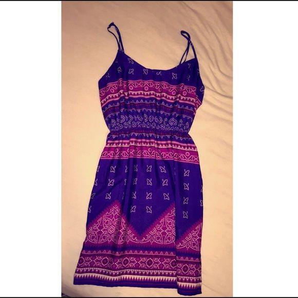 Pink and purple patterned short sundress Short, around arms length. Thin and adjustable straps. New, never been worn. Forever 21 Dresses Mini #shortsundress