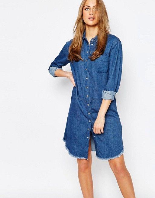 Warehouse | Warehouse Denim Frayed Hem Shirt Dress | Clothes ...