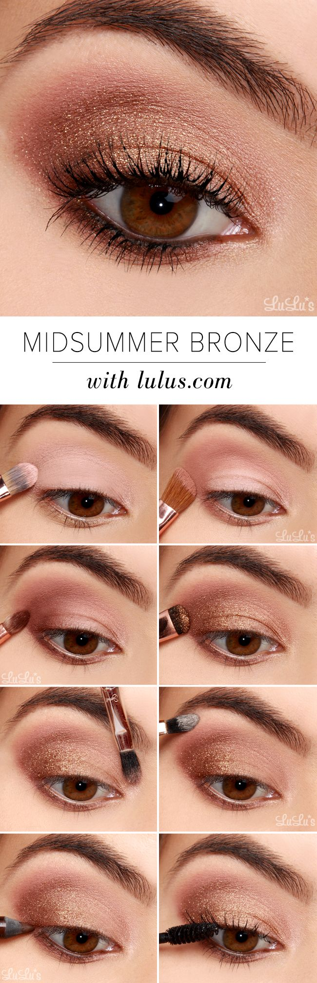 maquillage bronze et rose. Simple, easy, and can be casual or fancy! Great  summer look!