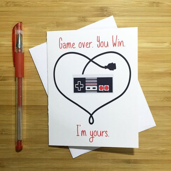 Video Game Valentines Card Gamer Gift Cute Love Card