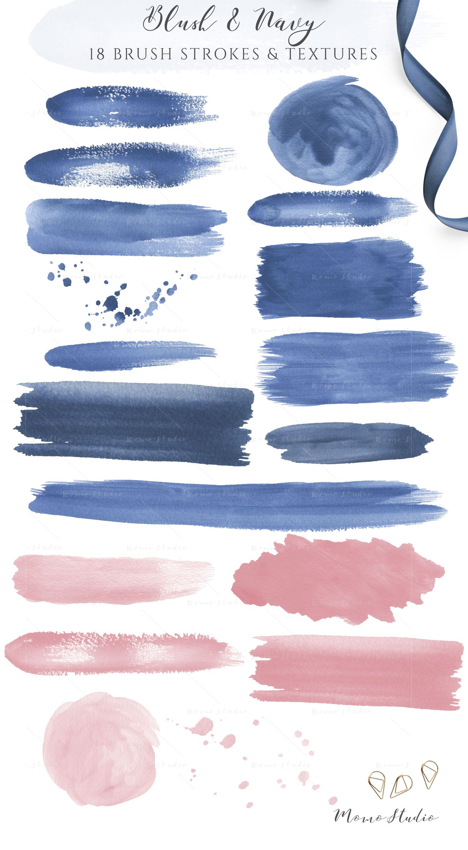 Watercolor Brush Strokes Textures Clipart Navy Blue Blush