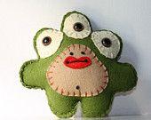 Felt Stuffed Monster, Plush Felt Monster, Stuffed Plush Monster, Felt Toy, Alien Plush, Cute Plushie, Blue. $10.00, via Etsy.