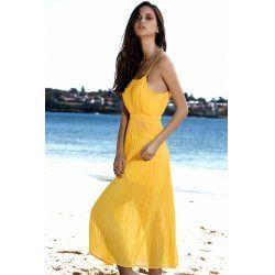 Spaghetti Strap Pleated Women's Yellow Dress