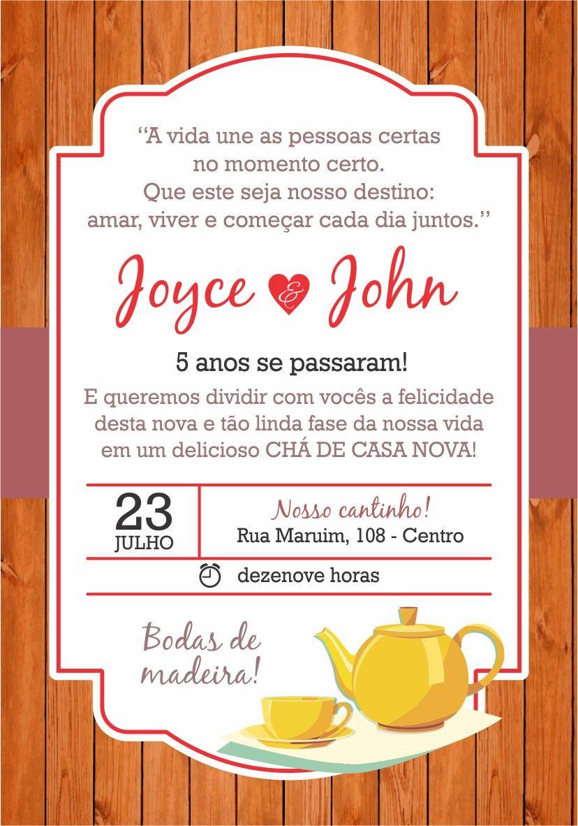 Convite Bodas De Madeira 5 Anos With Images