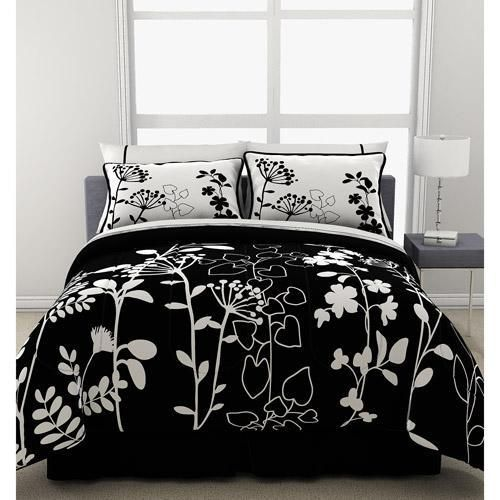 7 Pc Girls Teen Reversible Black White Floral Comforter Bedding Set